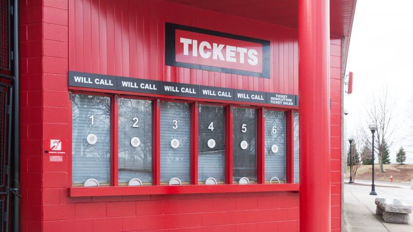 PISCATAWAY, NEW JERSEY - January 4, 2017: The ticket booths outside High Point Solutions Stadium are shown.