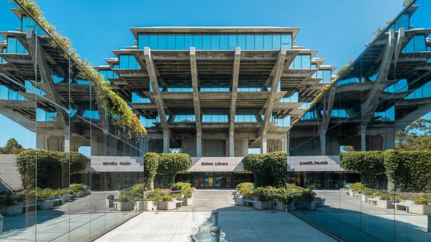 La Jolla, California, USA - August 9, 2016: Entrance to the Geisel Library on the campus of the University of California at San Diego.