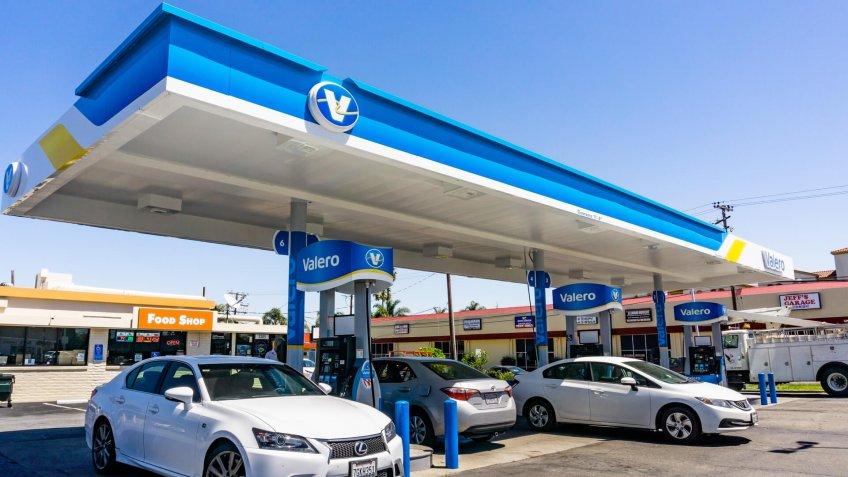May 2, 2019 Santa Clara / CA / USA - Valero gas station located in San Francisco bay area.