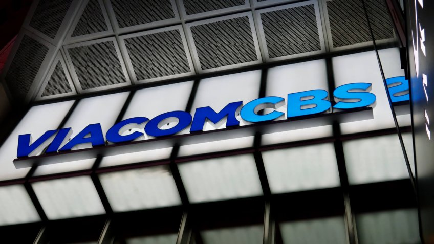 NEW YORK - DECEMBER 12, 2019: VIACOMCBS brand logo sign at headquarters building entrance at Times Square.