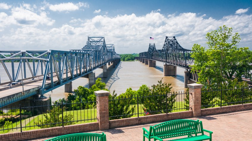 Mississippi River bridge, at Vicksburg, MS.