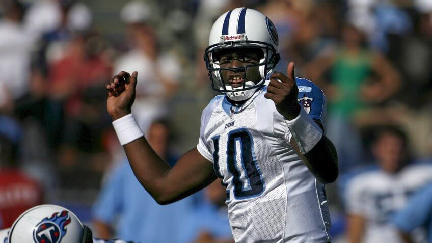 Mandatory Credit: Photo by Paul Buck/EPA/Shutterstock (7885138f)Tennessee Titans' Rookie Quarterback Vince Young Calls a Play in Fourth Quarter Action Against the San Diego Chargers at Qualcomm Stadium in San Diego California Sunday 17 September 2006 the Chargers Beat the Titans 40-7Usa Football Nfl - Sep 2006.