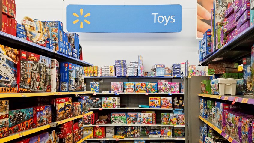 Walmart retail store kids toy section aisle, Saugus Massachusetts USA, November 26, 2018.