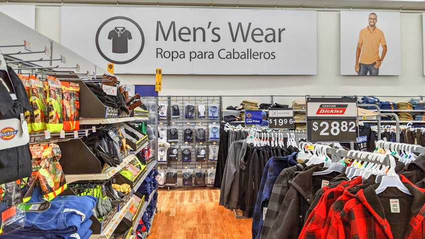 Walmart retail store menswear clothing aisle section, Lynn Massachusetts USA.