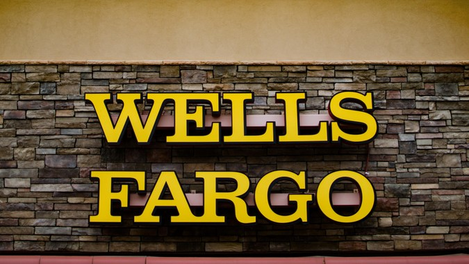 Zephyrhills Florida, USA - January 19, 2020: Wells Fargo Bank Branch Office, Facade and Signage.