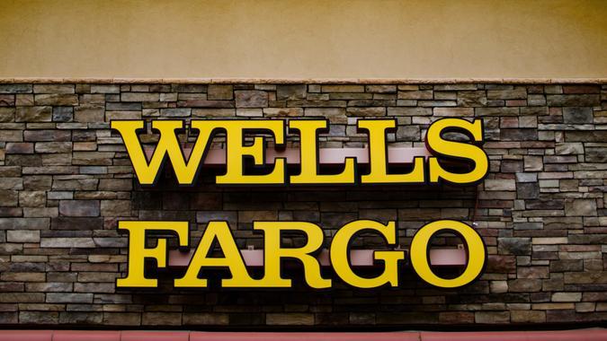 Zephyrhills Florida, USA - January 19, 2020: Wells Fargo Bank Branch Office, Facade and Signage.