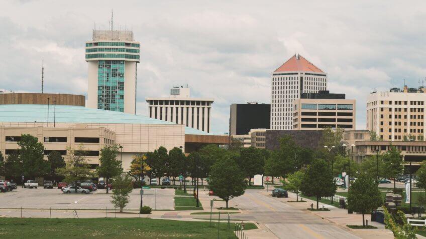 Wichita Kansas Skyline with Many Buildings.