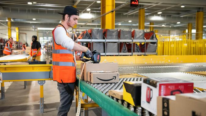 amazon worker in warehouse