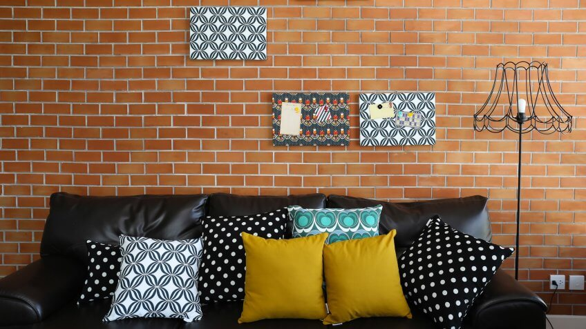 brick wall with art work