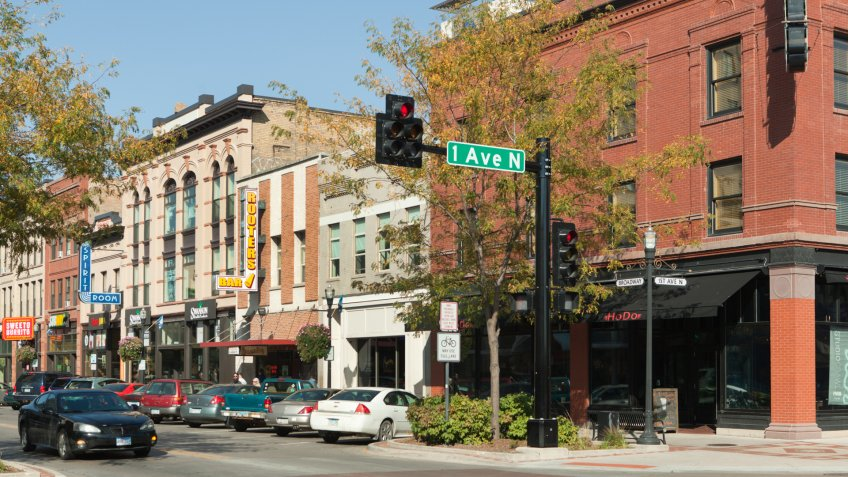 Fargo, North Dakota, USA - Sep 27, 2014: The economically vibrant downtown of Fargo North Dakota, lined with retail shops and entertainment businesses.