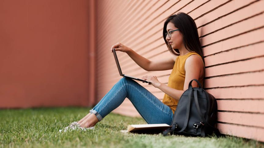 Sideview, Laptop, Sitting, Young Woman, Student, Campus, Outdoors,.