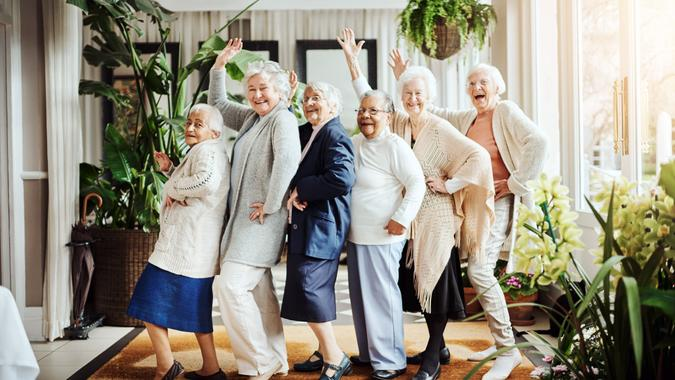 Portrait of a group of happy senior women having fun together at a retirement home.