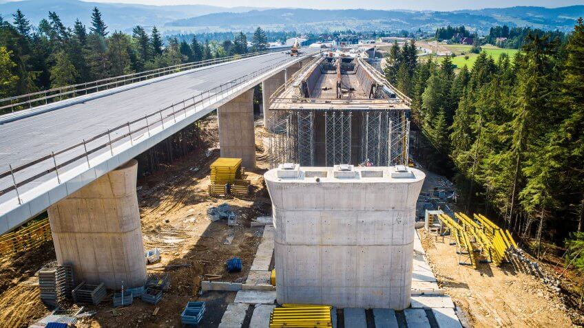 Aerial drone view on highway bridge in construction.