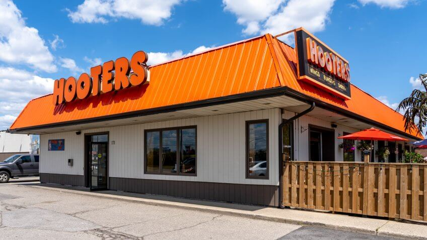 Mississauga, Ontario, Canada - August 11, 2019: Hooters restaurant near Pearson Airport in Mississauga, Ontario, Canada.