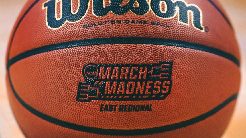 "The ""March Madness"" logo adorns a ball resting on the court during practice at the NCAA men's college basketball tournament in BostonNCAA Basketball, Boston, USA - 22 Mar 2018."