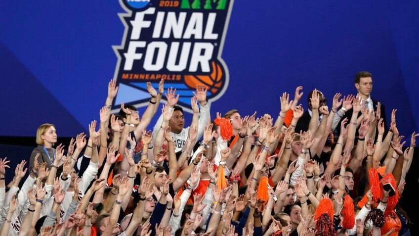 Virginia fans cheer during the second half in the championship of the Final Four NCAA college basketball tournament against Texas Tech, in MinneapolisFinal Four Texas Tech Virginia Basketball - 08 Apr 2019.