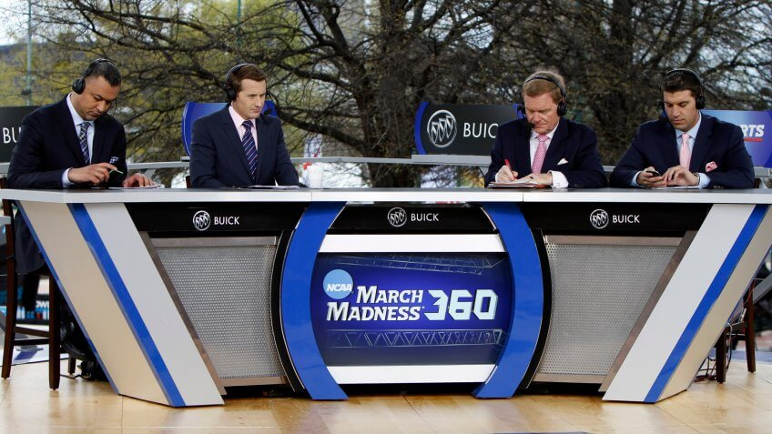 The CBS Sports Network Team on Day 1 of the NCAA Final Four Big Dance Concert in Centennial Olympic park on in Atlanta, Ga.