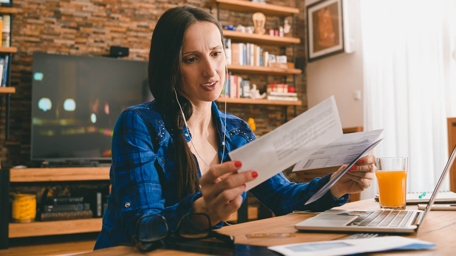Woman with overdue bills