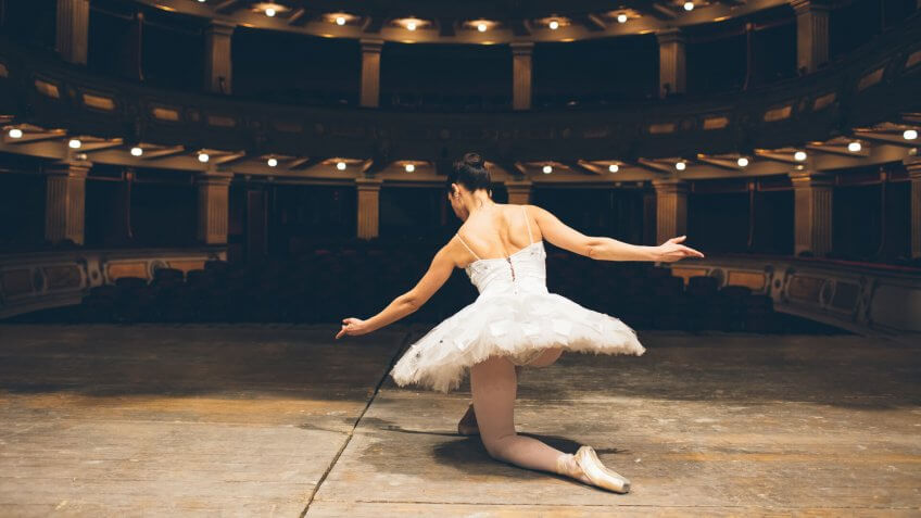 Ballerina with white tutù in a theater.