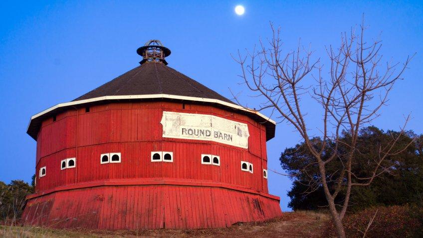 Round red barn at Fountaingrove Santa Rosa, California.