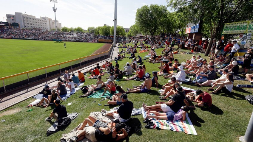 Scottsdale Stadium Fans watch an exhibition spring training baseball game between the San Francisco Giants and the San Diego Padres from lawn seating in the outfield at Scottsdale Stadium on in Scottsdale, ArizPadres Giants Spring Baseball, Scottsdale, USA.