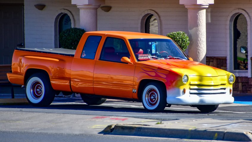truck with flame paint job