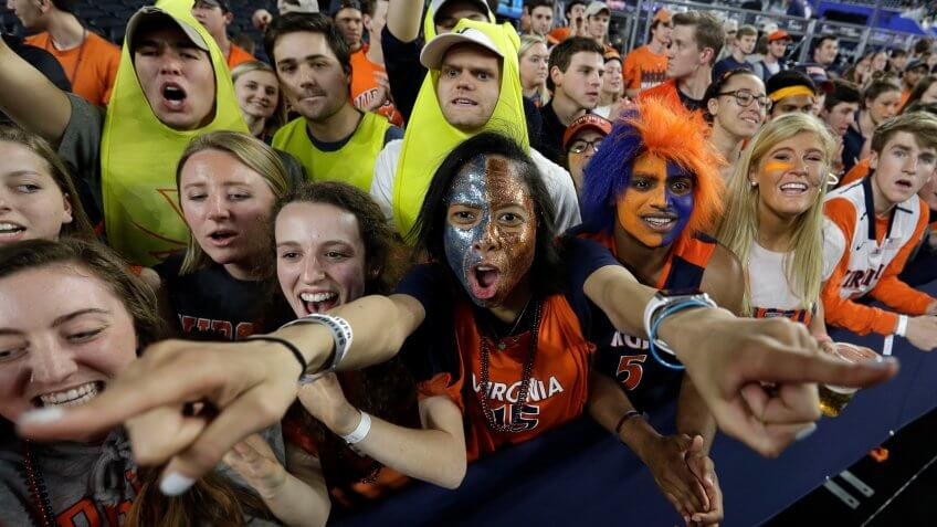 Virginia fans cheer before the championship of the Final Four NCAA college basketball tournament between Texas Tech and Virginia, in MinneapolisFinal Four Texas Tech Virginia Basketball - 08 Apr 2019.