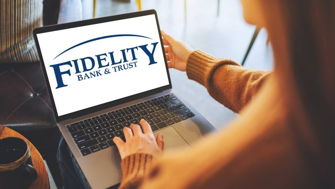 Fidelity Bank and Trust logo on laptop screen