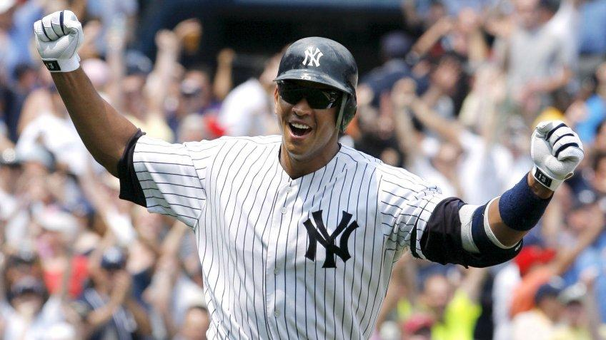Mandatory Credit: Photo by Justin Lane/EPA/Shutterstock (7831592cc)The Yankees' Alex Rodriguez Celebrates After Hitting His 500th Home Run During the First Inning Game Between the Kansas City Royals and the New York Yankees at Yankee Stadium in the Bronx New York Usa On 04 August 2007Usa Baseball Mlb - Aug 2007.