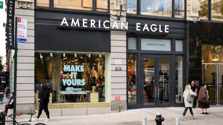 New York, New York, USA - November 21, 2019: American Eagle store in Union Square.