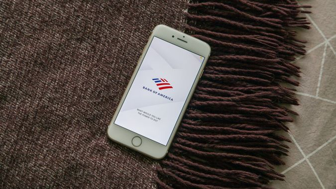 Bank of America financial services app on bed
