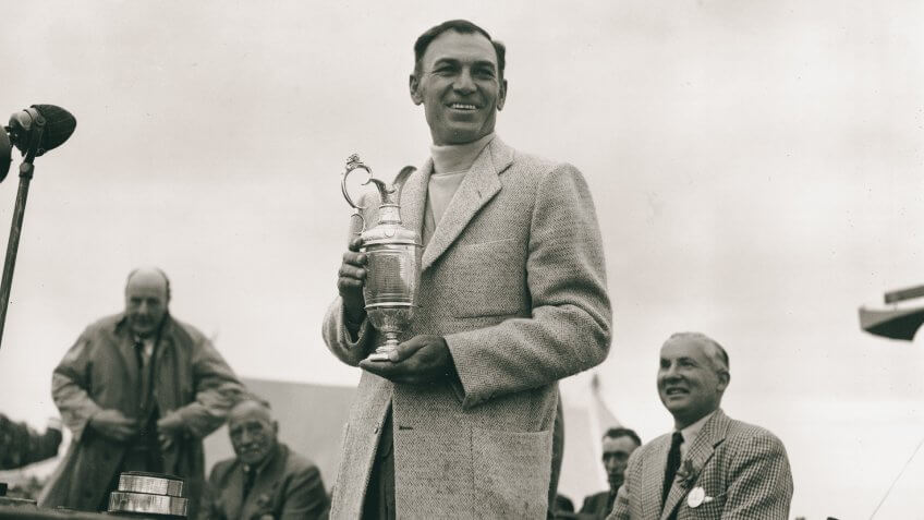 Ben Hogan, of Fort Worth, Texas, holds his trophy after winning the British Open Golf Championship to achieve the Triple Crown at Carnoustie, Scotland, on .