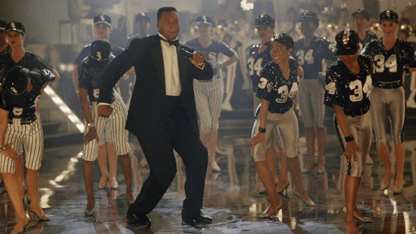 Bo Jackson dances during the taping of a Nike commercial on in Culver City, Calif.