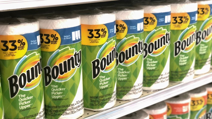 Black Mountain, NC / USA - May 30, 2019: This is a color photo of Bounty brand paper towels which are known as the quicker picker upper.
