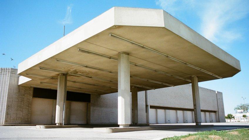 San Bernardino, California - April 5 2018: A building entrance at the shuttered Carousel Mall.