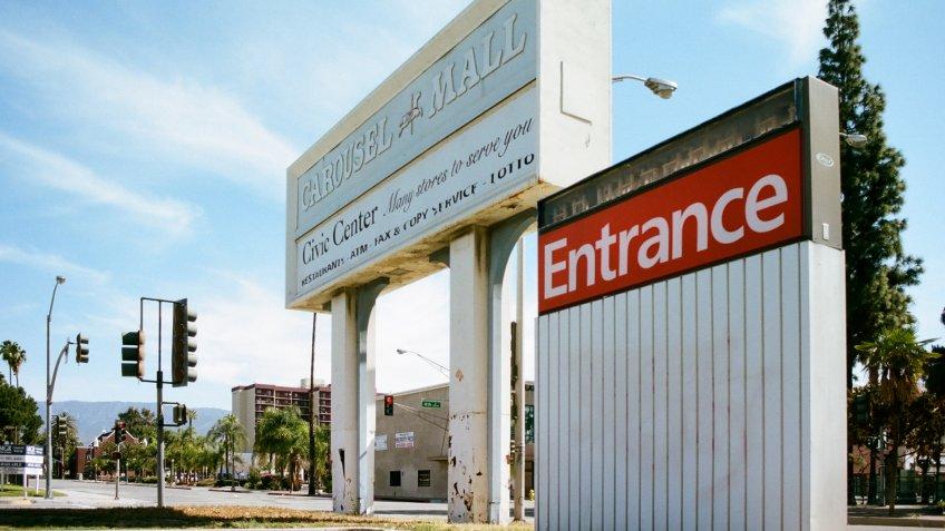 San Bernardino, California - April 5 2018: The main entrance sign at the abandoned Carousel Mall.