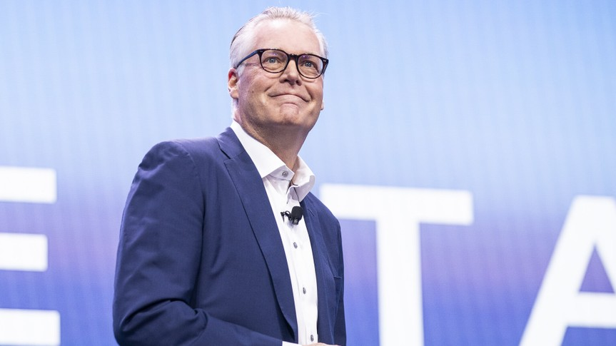 Mandatory Credit: Photo by ETIENNE LAURENT/EPA-EFE/Shutterstock (10520034b)Delta Airline CEO Ed Bastian delivers a speech during the Delta keynote at the 2020 International Consumer Electronics Show in Las Vegas, Nevada, USA, 07 January 2020.