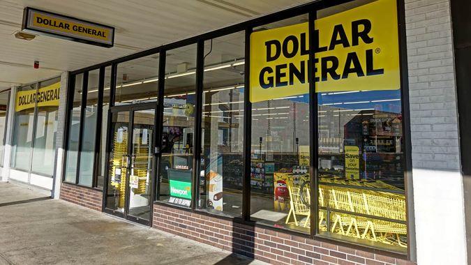 HDR image, Dollar General discount retailer store entrance - Revere, Massachusetts USA - November 23, 2017.