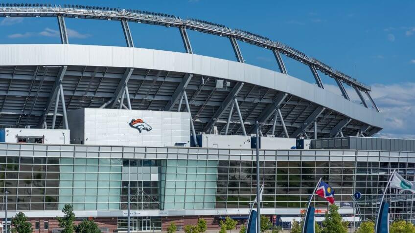 Denver, Colorado / United States of America - September 7 2019 : Mile High Stadium, Empower Field, home of the Denver Broncos NFL team.