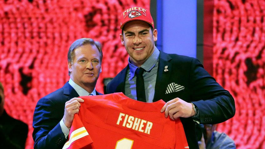Mandatory Credit: Photo by Mary Altaffer/AP/Shutterstock (6019459a)Eric Fisher, Roger Goodell Offensive tackle Eric Fisher from Central Michigan stands with NFL commissioner Roger Goodell after being selected No.