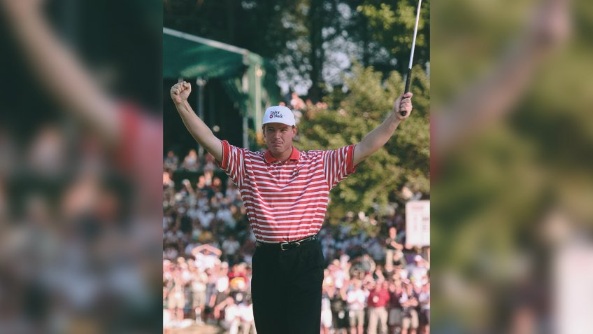 ELS Ernie Els, of South Africa, reacts after finishing the U.