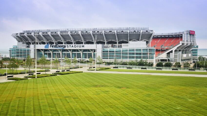 CLEVELAND, USA - JUNE 29, 2013: FirstEnergy Stadium exterior view on June 29, 2013 in Cleveland.