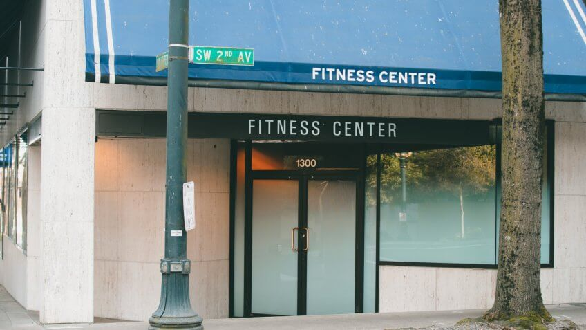 Portland, OR / USA - March 22 2020: Fitness Center closed during coronavirus pandemic.