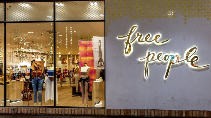 Toronto, Canada - May 05, 2018: Free People store front in the Eaton Centre shopping mall in Toronto.