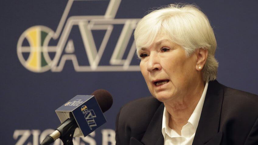 Mandatory Credit: Photo by Rick Bowmer/AP/Shutterstock (6125694a)Gail Miller Utah Jazz owner Gail Miller speaks during an news conference introducing Quin Snyder as the new Utah Jazz head coach, in Salt Lake City.