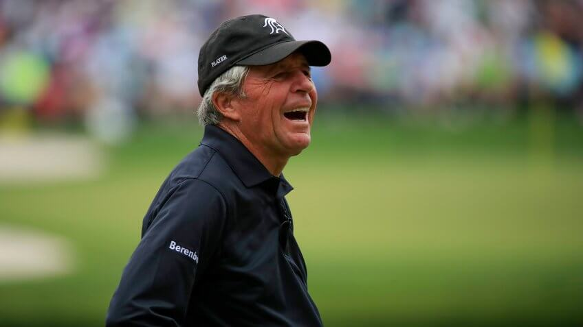 Gary Player The 2018 Masters Tournament, Augusta, USA - 04 Apr 2018Gary Player of South Africa reacts on the fifth hole during the Par 3 Contest at the 2018 Masters Tournament at the Augusta National Golf Club in Augusta, Georgia, USA, 04 April 2018.