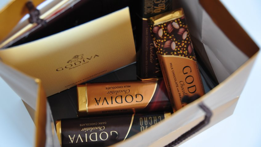 """Ankara, Turkey - March 11, 2012: A variety of Godiva Chocolate Bars in a bag."