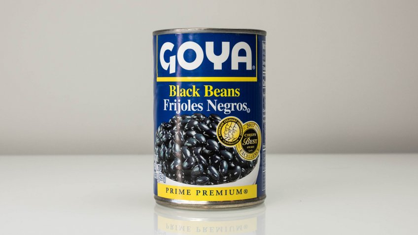 Boston, MA/USA - January 24, 2018: Goya Black Beans can in isolated background.