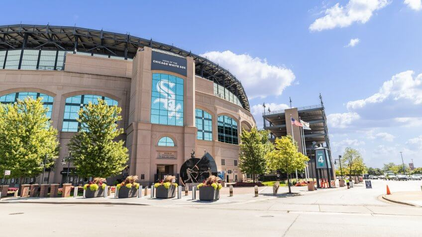CHICAGO, IL, USA - AUGUST 23, 2019: The exterior of the MLB's Chicago White Sox's Guaranteed Rate Field.