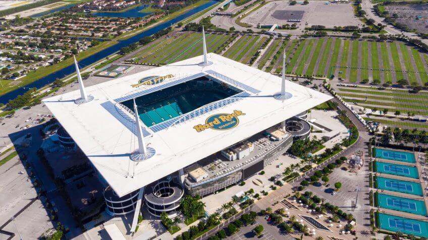 Miami Gardens, Florida/USA - November 29, 2019: Aerial view, drone photography of Hard Rock Stadium of the Miami Dolphins.